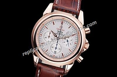 Replica Omega De Ville Chronograph  Ref 424.53.40.21.52.001 Brown Strap Date Silver 24 Hours Watch