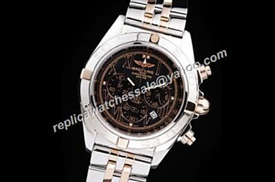 Breitling Chronomat Water Proof 2-Tone Wristband Gold Index Mens Black Watch