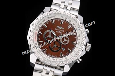 Breitling Bezel Brown Bentley Barnato Racing Mens 47mm Ref S/S A2536621/G732 Silver Bracelet Watch
