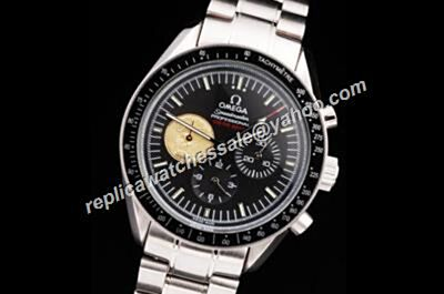 Rep Omega Speedmaster Racing Gmt Chronometer  White Gold Date Black SS Watch