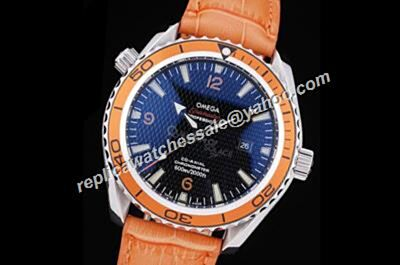Mens Omega Seamaster Co-axial 600m/2000ft Blue Dial Orange Leather Strap Watch