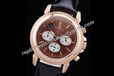 Nice Price Omega De Ville Co-axial Brown Chronograph Fake Date Watch