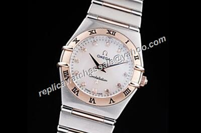 Omega Constellation Ladies Diamond Markers Two-tone  White Mop Rep Watch