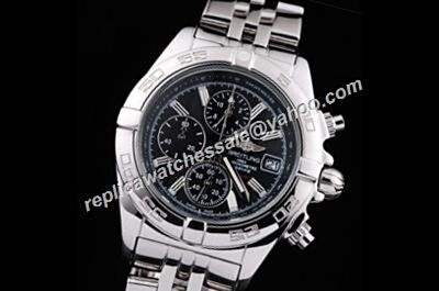 Breitling Chronomat Silver S/Steel Black Dial Males Watch Replica