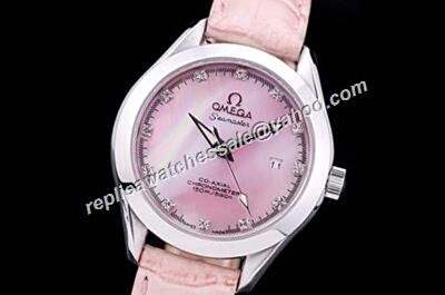 Omega Seamaster 150m/500ft Diamonds Markers Pink Mop  Replica Silver Watch