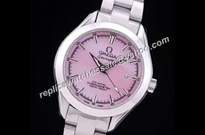 Fake Omega Seamaster 150m/500ft Pink MOP Date White Gold Auto Watch