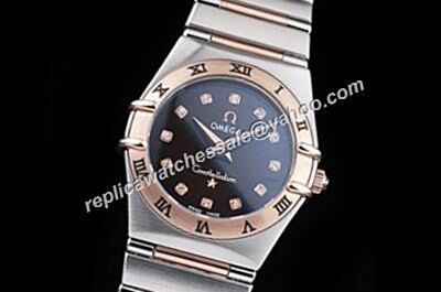 Omega Constellation Rose Gold Diamonds Markers Ladies Date Swiss Watch