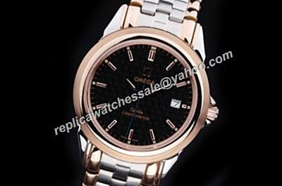 Omega De Ville Prestige Mens Rose Gold SS Date-just Watch