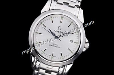 Mens Omega De Ville All Silver 39mm Date Watch nice price