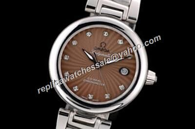 Omega De ville Ladymatic Diamond Set Silver Automatic 34mm  Steel Bracelet M13836 Brown Watch