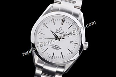 Omega Seamaster 150m Auto All White Gold Rep 41mm Date SS Watch