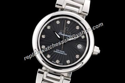 Omega De ville Ladymatic Diamonds Markers 425.30.34.20.51.001 Silver 34mm Auto Date Ladies Watch