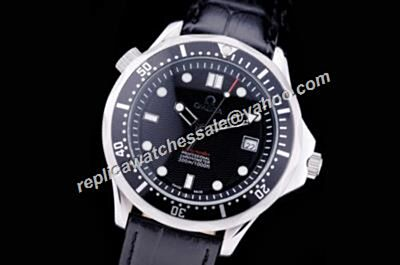 Omega Seamaster 300m Co-axial Silver Steel Date Black Leather Watch