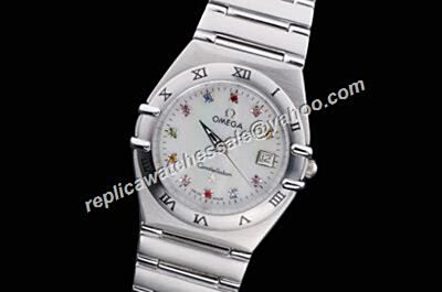 Omega Constellation Colorful Diamonds Markers White Gold Steel Bracelet Date Watch