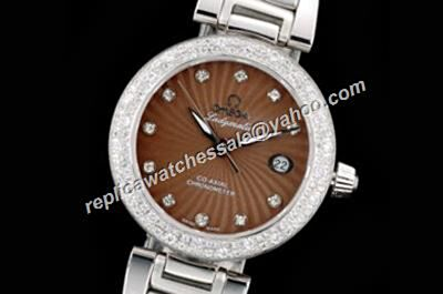 Replica Omega De ville Ladymatic Diamonds Bezel 425.60.34.20.63.001 Brown Silver Watch