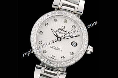 Omega De ville Ladymatic White  Date 425.35.34.20.55.001 Diamond Set Replica Jewelry Watch