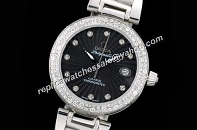 Omega De ville Ladymatic Diamond Set Co-axial Ref 425.35.34.20.51.001 Black Women's fake Watch