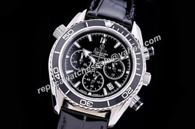 Omega Seamaster 300m  Chronograph  Black 24 Hour Leather Strap Watch