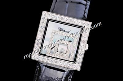 Chopard Happy Diamonds White Gold Square Case Leather Strap No Date Watch