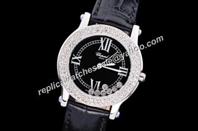 Chopard Happy Diamonds White Gold Bezel 278573-3003  Dating leather Strap Watch