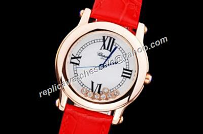Chopard Happy Diamonds Ladies Rose Gold SS White  Red Strap Watch