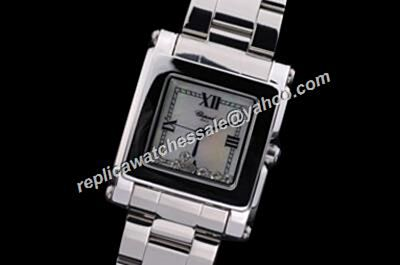 Fake Chopard Happy Diamonds  Diamonds Bezel Black Dating White Gold Watch