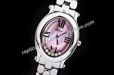 Chopard Happy Diamonds Oval Pink Mop face  Silver Bracelet 30mm Faux Watch