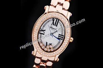 Chopard Happy Dancing Diamonds Rose Gold White Date Lady  Watch