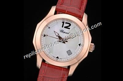 Chopard ELTON JOHN Rose Gold Red Leather Strap Replica  Watch