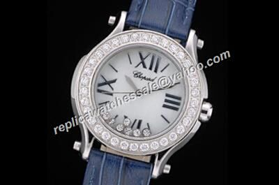 Chopard Happy Diamonds White Gold Ladies Diamonds Bezel Date Watch