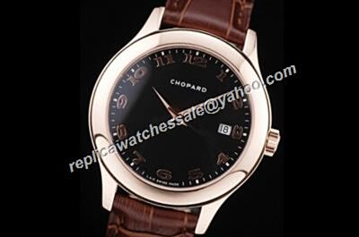 Chopard L.U.C Swiss  Ladies Rose Gold SS White  Red Strap Watch