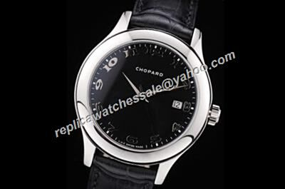 Chopard L.U.C  Silver Bezel Automatic Women'sDate Leather Strap fake Watch