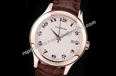 Chopard L.U.C Swiss  Rose Gold Red Leather Strap Replica Watch