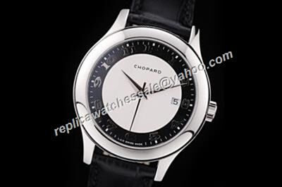 Chopard L.U.C SwissWhite Gold Bezel  2-Tone Face Leather Strap Watch