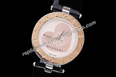 Bvlgari B.Zero1 Rose Ref BZ30BHSL Rose Gold Bezel Ladies Heart Diamonds Watch