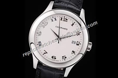 Chopard L.U.C Swiss Ref  168544-3001  Leather Strap White Face Date Watch