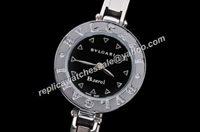Copy Bvlgari B.Zero1 Quartz BZ30BSS Silve Black no Date  Bangle Watch
