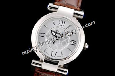 Chopard Imperiale  Silver Steel Quartz Brown Leather Strap Watch