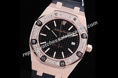 Imitated Audemars Piguet Diamonds Royal OAK Rose Gold 33mm Luxury Women's Watch
