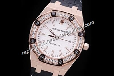 AP Royal OAK 67621OR.ZZ.D010CA.01 White Rose Gold Diamonds 33mm Dressing Watch