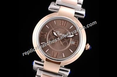 Chopard Imperiale Rose Gold Bezel  Ladies Brown Date 2-Tone Bracelet Watch