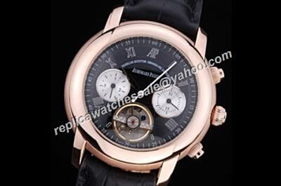 Audemars Piguet Jules Audemars Tourbillon Chronograph Rose Gold S/Steel Black Rep Men Day Date Watch