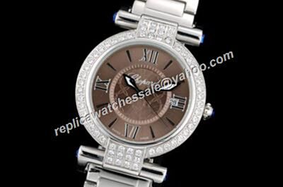 Chopard Imperiale Diamond White Gold Replica Brown Face Jewelry Watch