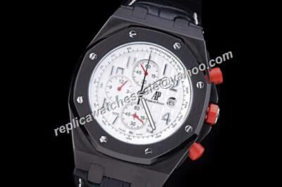 AP Chronograph Offshore Singapore 2008 Limited Red Crown Rep Leather Strap Watch