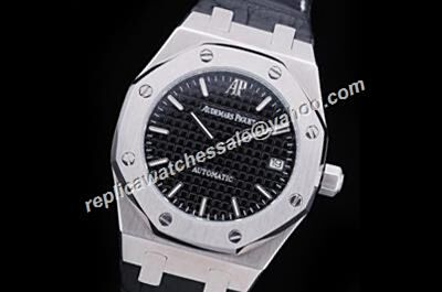 Audemars Piguet Royal OAK Black Plaid Men's 37mm Leather Strap Auto Watch