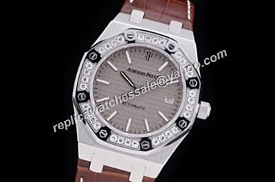 AP Diamond Royal OAK Unisex White Gold S/Steel Grey Dial  Weeding Watch