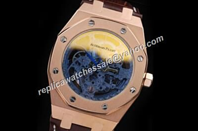 Audemars Piguet Skeleton 2-Tone Royal OAK Rose Gold 37MM Brown Strap Date Watch Fake
