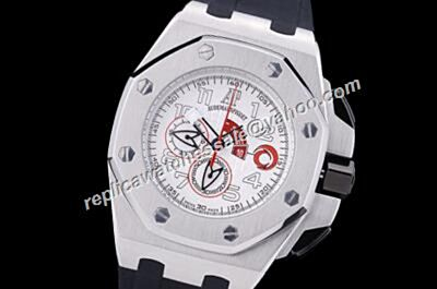 AP Offshore Alinghi Team Chronograph Limited Edition Ceramic Silver Rubber Strap Boys Watch