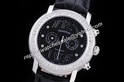 Faux Audemars Piguet Globe Diamonds Set Chronograph Jules Audemars Leather Strap Watch