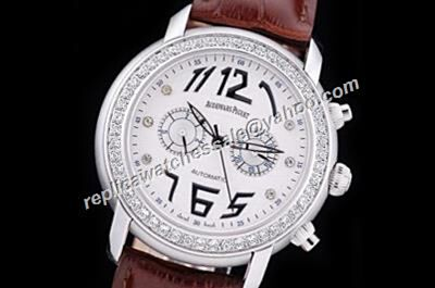 UK Audemars Piguet Lady's Jules Audemars Diamonds Bezel Chronograph Automatic Silver  Dress Watch